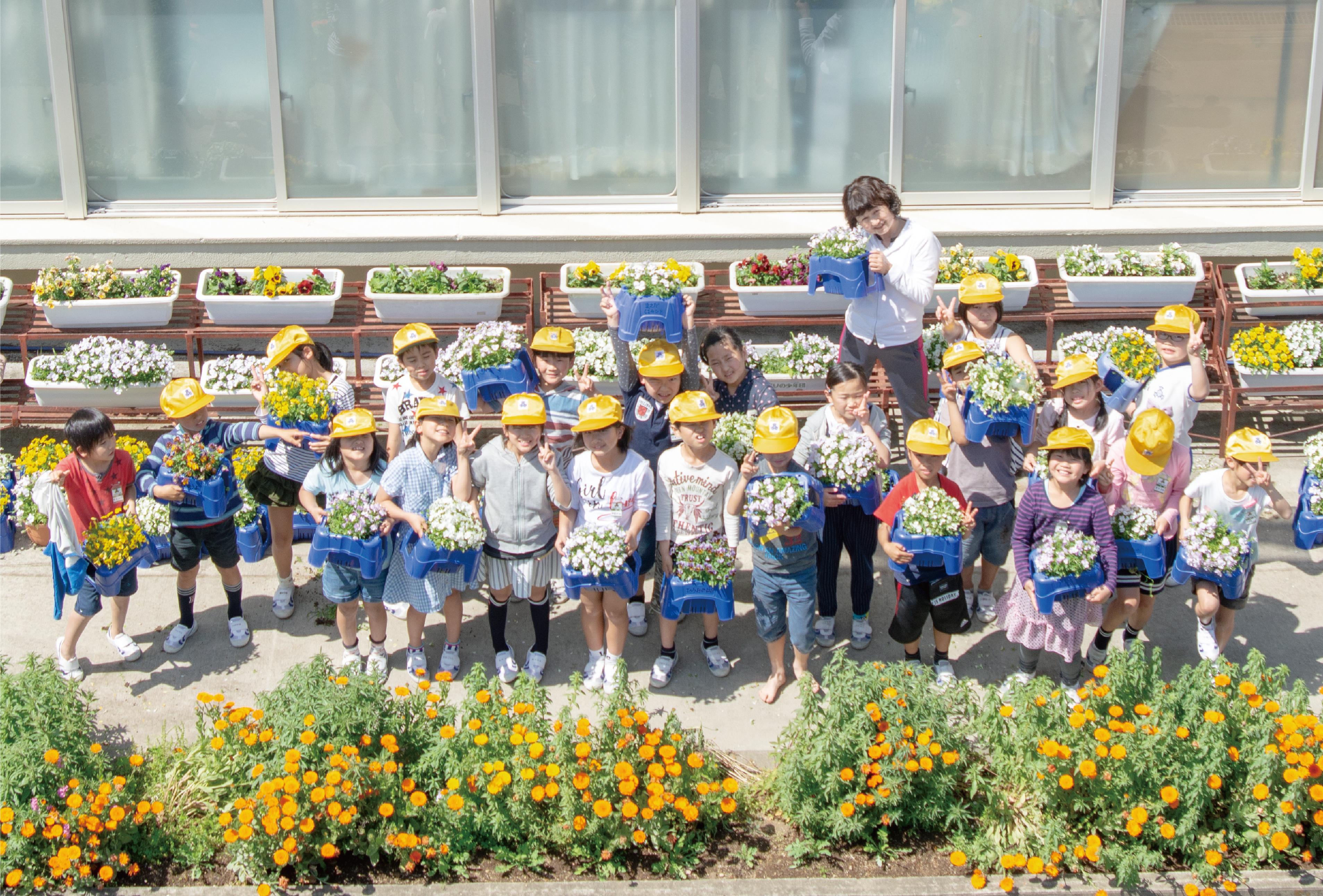 高鍋西小学校「花いっぱい運動」